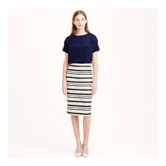 J. Crew Dresses & Skirts - J. CREW purple white stripe pencil skirt, 10